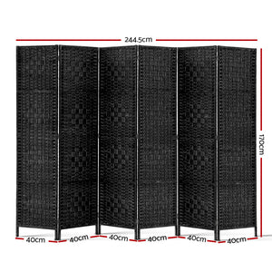 6 Panel Room Divider Privacy Screen Oriental Look Partition Black - Afterpay - Zip Pay - Free Shipping - Dodosales -