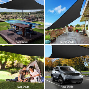 z 280GSM Shadecloth Canopy Shade Sail Shade Cloth Rectangle Black 4 x 6m