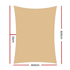 280GSM Shadecloth Canopy Shade Sail Shade Cloth Rectangle Sand Beige 4 x 6m