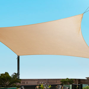 280GSM Shadecloth Canopy Shade Sail Shade Cloth Rectangle Sand Beige 5 x 6m