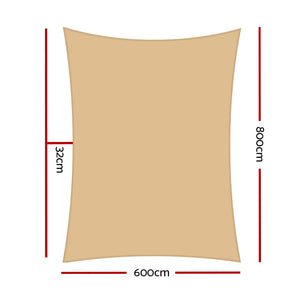 280GSM Shadecloth Canopy Shade Sail Shade Cloth Rectangle Sand Beige 6 x 8m