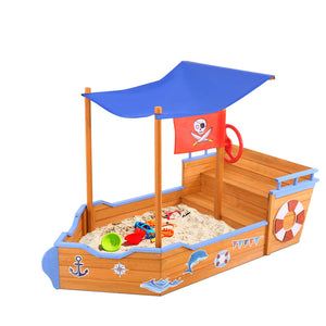 Pirate Ship Sandpit Boat Sand Pit With Canopy Cover Treated Timber Play Sand Pit - Afterpay - Zip Pay - Free Shipping - Dodosales -