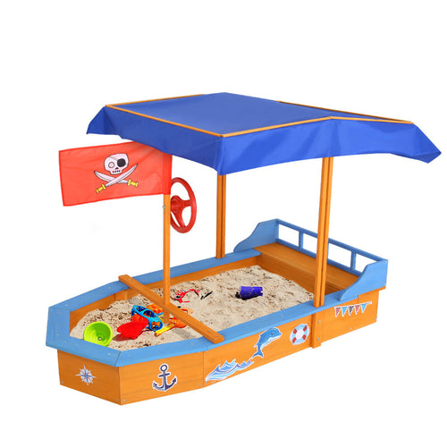 150cm Sandpit Boat Sand Pit With Canopy Cover Treated Timber Play Sand Pit Pirate Ship