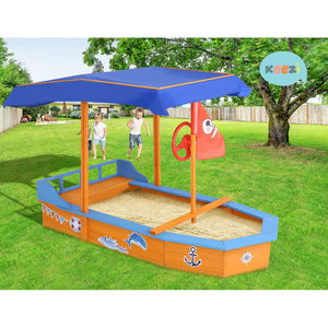 150cm Sandpit Boat Sand Pit With Canopy Cover Treated Timber Play Sand Pit Pirate Ship - Afterpay - Zip Pay - Free Shipping - Dodosales -