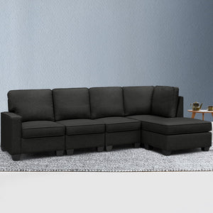 Sofa Lounge Set Couch Futon Corner Modular Chaise Fabric 5 Seater Suite Dark Grey