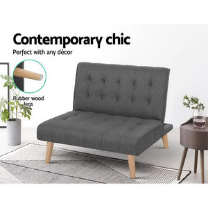 1 Seater Fabric Recliner Sofa Chair Seat Futon Couch Bed - Afterpay - Zip Pay - Free Shipping - Dodosales -