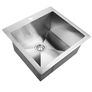 53cm Sink 304 Stainless Steel Kitchen Laundry Basin Tub X-Flume Satin Coat