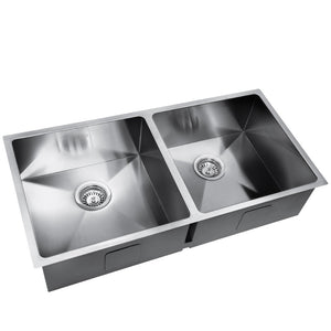 865 x 440mm Double Stainless Steel Sink Satin Finish Drop In Flush Under Mount - Afterpay - Zip Pay - Free Shipping - Dodosales -