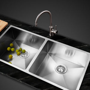 865 x 440mm Double Stainless Steel Sink Satin Finish Drop In Flush Under Mount