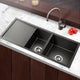 Nano Stainless Steel Sink 2 Bowls Xflume Design Silver Black