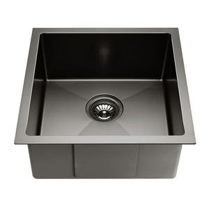 Stainless Steel Basin Kitchen Laundry Bowl  Square 44 x 44cm Silver Black