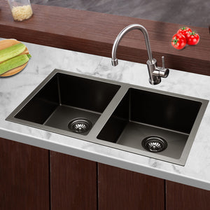 77 x 45cm Sink 304 Double Stainless Steel Kitchen Laundry Basin Tub X-Flume Silver Black