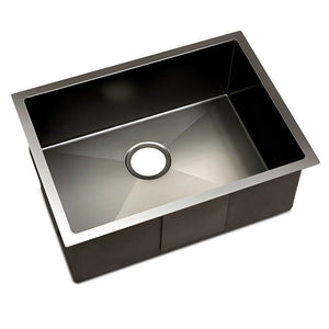 60 x 45cm Sink 304 Stainless Steel Kitchen Laundry Basin Tub X-Flume Silver Black - Afterpay - Zip Pay - Free Shipping - Dodosales -