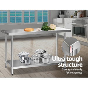 Commercial Stainless Steel Kitchen Bench Table Home Food Prep 610 x 1524mm