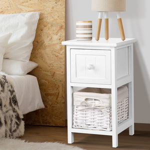 2 x Mini Bedside Table Rustic Country Style Nightstand Side Lamp Cabinet White - Afterpay - Zip Pay - Free Shipping - Dodosales -