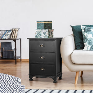 Bedside Table Antique Style Nightstand Side Cabinet Chest Of 3 Drawers Black - Afterpay - Zip Pay - Free Shipping - Dodosales -