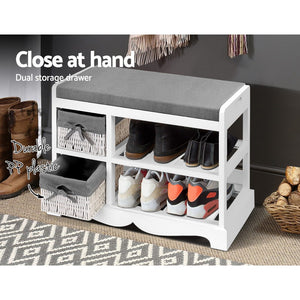 Hallway Shoe Cabinet Entry Storage Unit Bench Baskets Shelves Organiser Laundry - Afterpay - Zip Pay - Free Shipping - Dodosales -