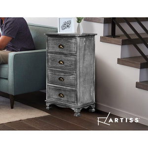Chest of 4 Drawers Bedside Tables Drawers Cabinet Storage Vintage Grey Nightstand - Afterpay - Zip Pay - Free Shipping - Dodosales -