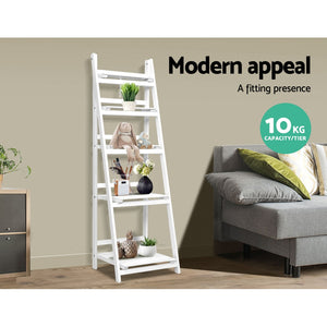 Ladder Style Display Unit Wooden 5 Tier Stand Storage Shelves Rack White - Afterpay - Zip Pay - Free Shipping - Dodosales -