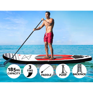 "11"" Paddle Board Stand Up Inflatable SUP Surfboard Paddleboard Kayak Red"