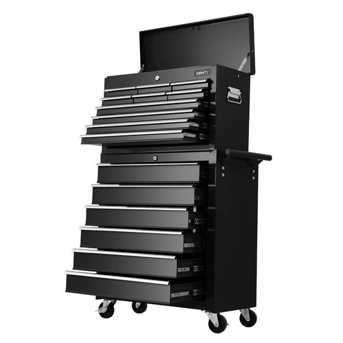 16 Drawers Toolbox Tool Chest & Trolley Box Cabinet Cart Garage Storage Black