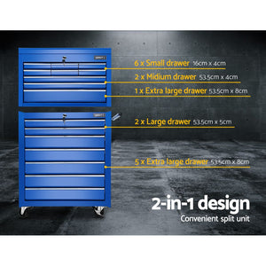 Toolbox Tool Chest & Trolley Box Cabinet Cart Garage Storage 16 Drawers 2 in 1 Blue