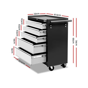 z 5 Drawer Mechanic Tool Box Storage Trolley Cart Cabinet Black And Grey