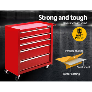 5 Drawer Mechanic Tool Box Storage Trolley Cart Cabinet Red