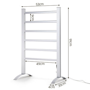 Portable Electric Heated Towel Rail Ladder Warmer 6 Bars Bathroom Free Standing - Afterpay - Zip Pay - Free Shipping - Dodosales -