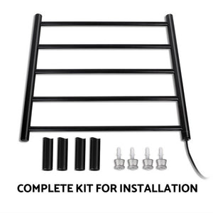 Bathroom Electric Heated Towel Rail Rack Heating 5 Rods Black