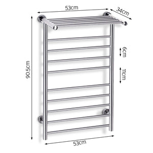 Electric Heated Towel Rail Ladder Warmer 10 Bars Rods Bathroom Shelf - Afterpay - Zip Pay - Free Shipping - Dodosales -