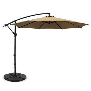 3M Umbrella with 48x48cm Base Outdoor Umbrellas Cantilever Sun Beach Garden Patio Beige