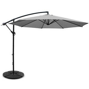 3M Umbrella with 48x48cm Base Outdoor Umbrellas Cantilever Sun Beach Garden Patio Grey