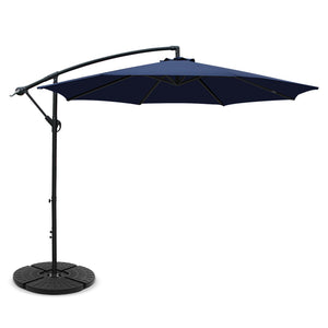3M Umbrella with 48x48cm Base Outdoor Umbrellas Cantilever Sun Beach Garden Patio Blue