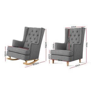 Rocking Armchair Lounge Convert To Chair Feeding Nursery - Grey