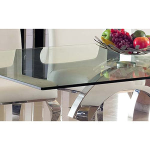 z Modern Glossy Base Stainless Steel Retro Dining Table Tempered Glass