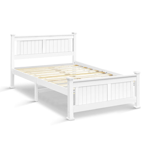 White Double Size Wooden Bed Frame Slat Base Bedding Furniture - Afterpay - Zip Pay - Free Shipping - Dodosales -