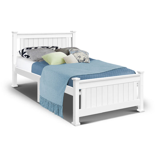 White Single Size Wooden Bed Frame Kids Bedroom (No Mattress) - Afterpay - Zip Pay - Free Shipping - Dodosales -