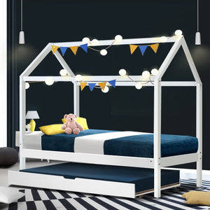 White Single Size Pine Wood Bed Frame + Trundle House Shape Kids Bedroom (No Mattress) - Afterpay - Zip Pay - Free Shipping - Dodosales -