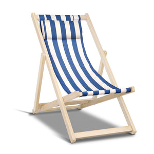 Stripe Deck Chair Wooden Frame Foldable Beach Seat Sun Lounge