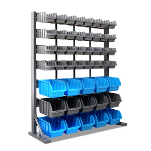 47 Storage Shelving Bin Rack With Magnetic Tool Bar Heavy Duty Organiser - Afterpay - Zip Pay - Free Shipping - Dodosales -