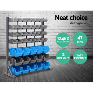 47 Storage Shelving Bin Rack With Magnetic Tool Bar Heavy Duty Organiser - Dodosales