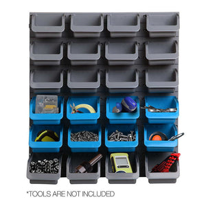 Wall Mounted Storage Rack Set Peg Board Tool Organiser 3 Bin Sizes - Dodosales
