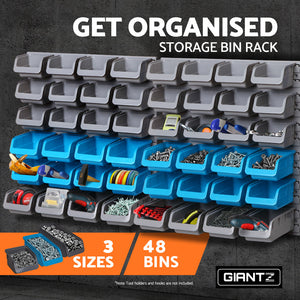 Giantz 48 Bin Wall Mounted Rack Storage Handyman Tool Organiser - Afterpay - Zip Pay - Free Shipping - Dodosales -