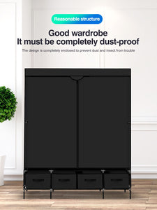 Portable Wardrobe Non Woven Fabric Storage Cabinet Organiser Drawers Black