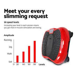 Exercise Vibration Machine Plate Platform Body Shaper Home Gym Fitness Red - Afterpay - Zip Pay - Free Shipping - Dodosales -