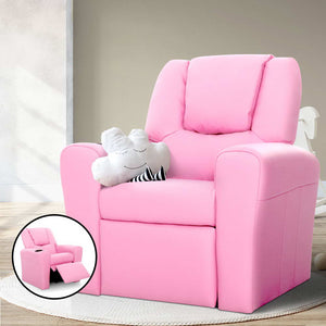 Kids PU Leather Reclining Armchair Toddler Recliner Chair Girl Pink - Afterpay - Zip Pay - Free Shipping - Dodosales -