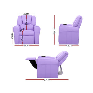 Kids PU Leather Reclining Armchair Toddler Recliner Chair Girl Boy Purple - Afterpay - Zip Pay - Free Shipping - Dodosales -