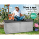 390L Outdoor Storage Box Bench Seat Toy Tool Shed Chest Dark Grey - Afterpay - Zip Pay - Free Shipping - Dodosales -