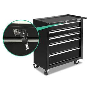 5 Drawer Mechanic Tool Box Storage Trolley Cart Cabinet Black - Afterpay - Zip Pay - Free Shipping - Dodosales -